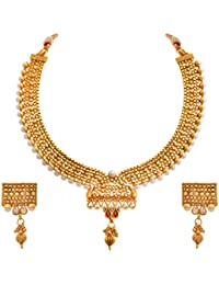 JFL - Traditional Ethnic One Gram Gold Plated Stone & Pearls Designer Necklace Set With Earring For Women & Girls.