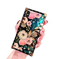 Square Case for Iphone 11/11 Pro/11 Pro Max Flowers Pattern Retro Case Soft TPU Shockproof Bumper Elegant Slim Rectangle Blu-Ray Back Cover,1,XSMax