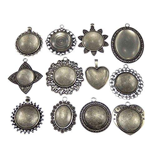 Glas Runder Anhänger (juliewang 12Sets gemischt silber mit Anhänger Runde Fassung Tablett oval Glas Cabochon für Schmuckherstellung)