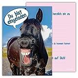 12 Lustige Einladungskarten Set Kindergeburtstag Pferde Himmel Wolke Wiese Einladung Geburtstag Party Schimmel niedlich