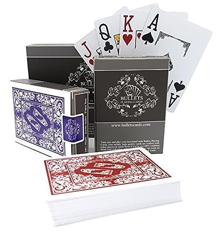 2 Jeux de Cartes de Poker en plastique de la marque Bullets Playing Cards - Index Jumbo