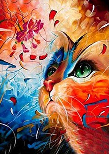 5D pinturas bordados rhinestone pegado bricolaje diamante pintura punto de Cruz,Gato arcoiris (MULTICOLOR)