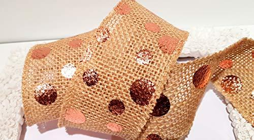 Ribbon Queen Rotgold Rosegold Schleifenband Draht- und Draht-Designs. Lametta Hochzeitsgeschenk Vintage, 50mm Rose Gold Spots on Burlap Hessian- Bound Edge Not Wired, 10m Roll