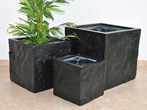 Pflanzkübel Blumenkübel Fiberglas Stein-Optik Quadrat L/B/H 30x30x30cm elegant schwarz-matt.
