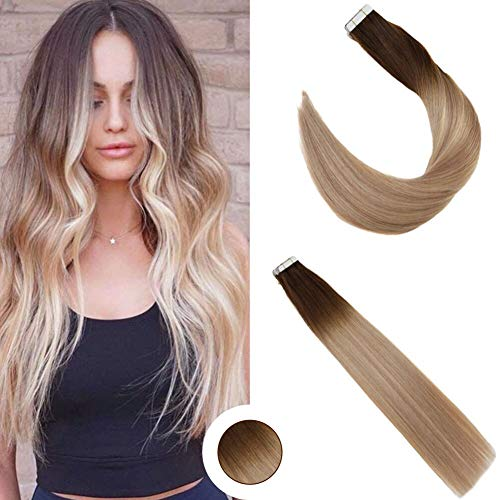 Ugeat 18zoll/45cm Tape in Real Echthaar Extensions fur Frauen #4/18/22 Brun Mit Blond Balayage Double Side Tape in Real Human Hair Extensions 50g/20pcs (Human Hair Extensions Gewellt)