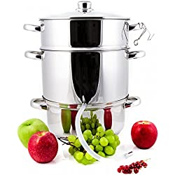 Grafner 8,5 Liter Dampfentsafter | Ø26cm | Induktionsgeeignet | Edelstahl | Ablasshahn | Fruchttopf Entsafter Obstpresse Obst Gemüse entsaften