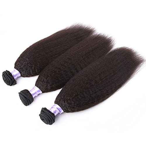 Sexyqueenhair italiana capelli Yaki Kinky Lisci Capelli Umani Weaves 100g, per Bundle colore naturale (Di Yaki Dei Capelli Umani Weave)