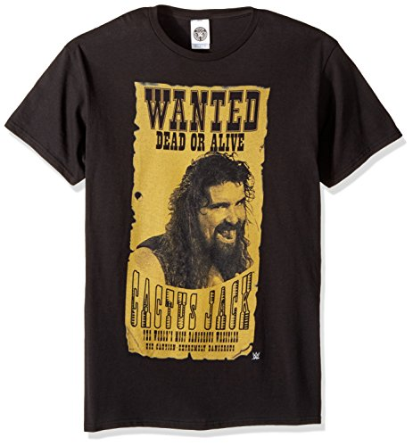 WWE Herren T-Shirt Kaktus Jack Wanted Dead Or Alive - Schwarz - X-Groß (T-shirt The Rock Wwe)