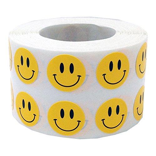 1000 Stück/1 Rolle von pu ran mit runden, selbstklebenden Smiley-Gesichtern als Aufkleber für den Schulbedarf gelb