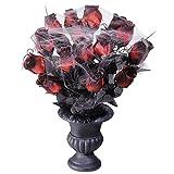 NET TOYS Gothic Vase mit Rosen Halloween Dekoration schwarz-rot 15 Rosen Rosenstrauß mit Vase Blumendeko Rosendekoration