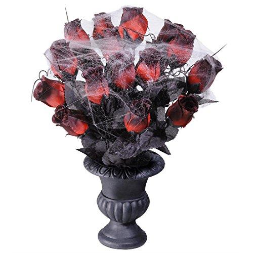 NET TOYS Gothic Vase mit Rosen Halloween Dekoration -