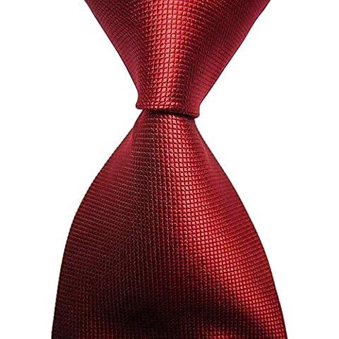 Fascigirl Mens Ties Classica Tinta Unita Formale con Cravatta Rossa