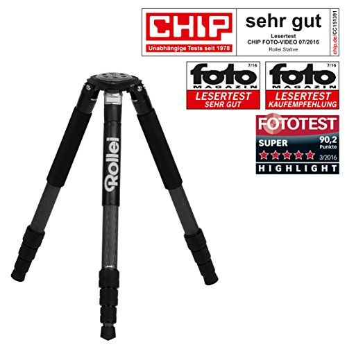 Rollei Rock Solid Alpha - Professional Outdoor Tripod 100% Carbon - max. Height 156 cm, max. Load capacity 24 kg, robust and powerful in sand and saltwater - Black