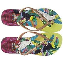 Havaianas Women's Slim Tropical Flip Flops, Lemon Yellow, 2/3 UK 2.5 EU