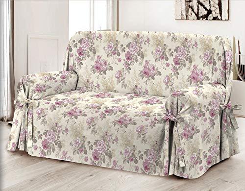 Homelife - copridivano a due posti con motivo floreale, alta qualità made in italy - elegante salvadivano 2 posti - telo in cotone per copertura divano, protezione da polvere, macchie e usura - rosa