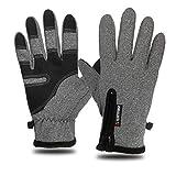 QLJ Gloves Fahrradhandschuhe Handschuhe wasserdicht Touchscreen Winddicht warm Fleece reflektierend Reitreißverschluss bezieht Sich alle auf den Winter im Freien Skifahren Männer und Frauen, grau L