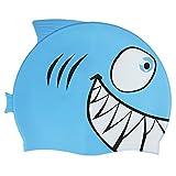 Kinder Badekappe Mädchen Jungen Bademütze Badehaube mit süßem Cartoon UV Schutz Cap geeignet für Strand oder Schwimmbad (100% Silikon, Super Stretch, Rutschfest, Wasserdicht) (Blau A)