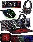 ORZLY® Gioco Mouse e Tastiera [Meccanica, Retroilluminata RGB], Tappetino per Mouse Grande, e Cuffie da Gioco - Kit 4 in 1 Pacchetto Combinato per Giocatori PC, utenti Xbox o PS4 [Hornet RX250]