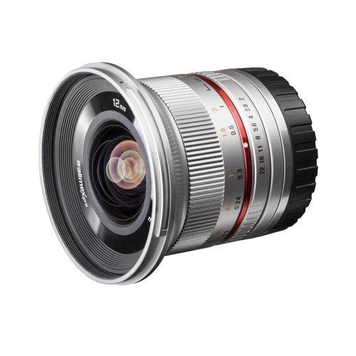 Walimex Pro 12 mm f/2.0 CSC-Weitwinkelobjektiv für Sony E-Mount Objektivbajonett, silber