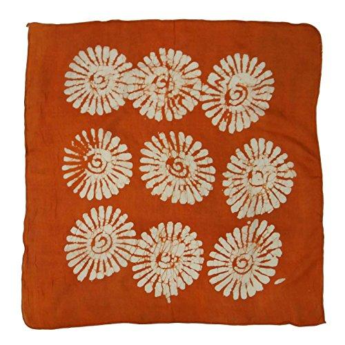 Les écharpes en soie pure femmes Place Scarf 20 x 20 pouces Orange et Blanc