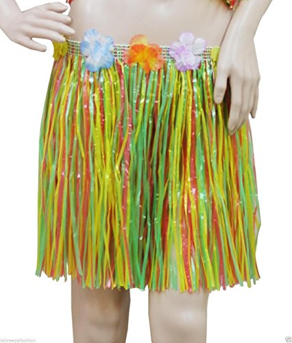 GCC Fashion Store Hawaiian Hula Rock Fancy 40 cm Grass Blumen Party Kleid Bund Elastic Taille