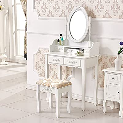 Elegant White Rose Dressing Table Makeup Desk Dresser with Stool, 4 Drawers and Oval Mirror Bedroom Furniture - low-cost UK light store.