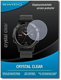 """4 x SWIDO® Protector de pantalla Garmin fenix 5 Protectores de pantalla de película """"CrystalClear"""" invisible"""