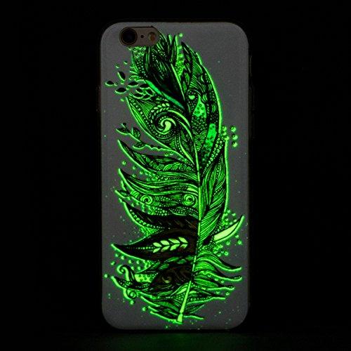 iPhone 6S Plus Hülle, iPhone 6 Plus Hülle,SainCat iPhone 6 Plus/6S Plus Silikon Hülle Transparent Handyhülle Muster Gel Schutzhülle [Kratzfeste, Scratch-Resistant] Ultra Slim Dünn Weichem Handytasche  Leuchtende Nacht-Feder