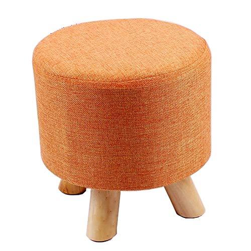 Puff Schaukelstuhl (WXH Foothocker/Sofa Stool/Round Mat Osmanisches Pedal Removable Linen Fabric Orange geeignet für Living Room Corridor Cafe Tea Shop Bedroom)
