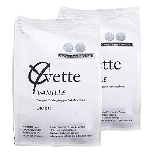 Yvette Vanille Kaffeepads, Aroma Pads, Röstkaffee, Kaffee, auch für Senseo, 2 x 20 Pads