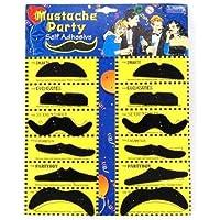 chinkyboo Paquete de 12 auto-adhesivo Surtido Partido falso bigote/Bigote Set disfraces de cumpleaños con estilo