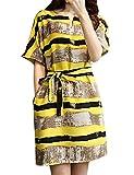 Kerlana Abito Sciolto Donna Strisce Abito Casual Tunica Camicetta Con Manica corta Mini Vestito Maglietta Abito Allacciatura Dress
