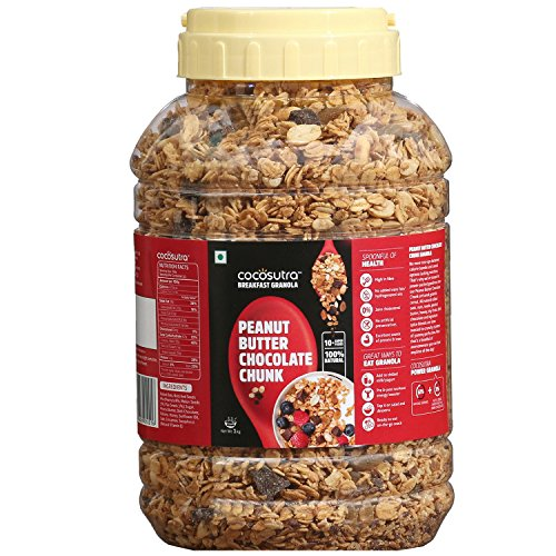 COCOSUTRA Granola – Peanut Butter Chocolate Chunk, Breakfast Cereal with Oats, Nuts, Seeds and Dry Fruits (1kg)