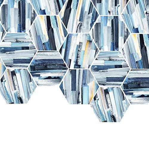 Dekorative Fliesen Backsplashes (BAIVIT Wasserdichte Wandaufkleber Sechseckige Rutschfeste Bodenaufkleber Dekorative Fliese Applique Wandkunst Bodenfliesen 20X23cm10 Stück/Set,36)