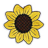 Sightui 3 Pieces Embroidered patch Sunflower sun Applique iron on Sew On patches T shirt DIY Cloth Applique Craft Decoration