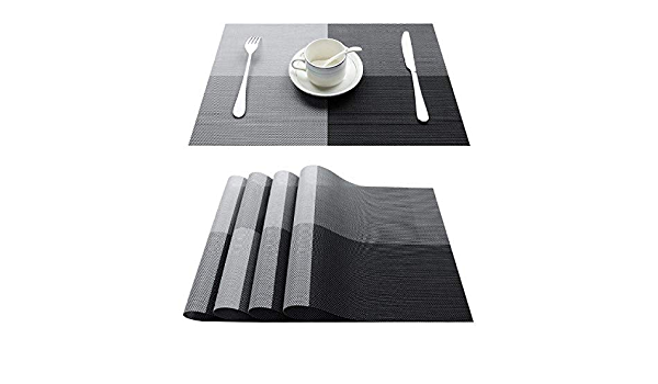 Set De Table De 4 en PVC,Napperons De Lavage Lavables Gris De Mode Tapis De Table R/ésistant /À La Chaleur Imperm/éable pour des Tapis De Table Antid/érapants De Cuisine