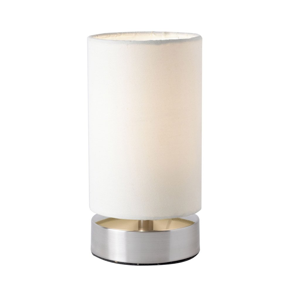 Endon Pair Of Cylinder Touch Table Lamps (white Cream, Satin Nickel,  Colliers TLCR): Amazon.co.uk: Lighting