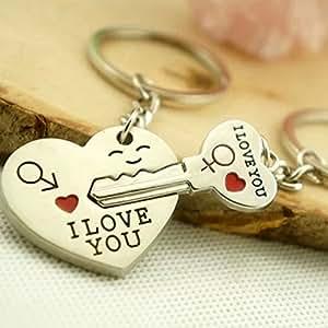 Beyondfashion Lot de 2 porte-clés pour couple Flèche et cœur/clé inscription I love you