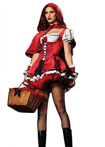 Minetom Damen Rotkäppchen Halloween Weihnachten Performance Kleid Hoodie Kostüm (Red Kostüme Weihnachten Hoodie)