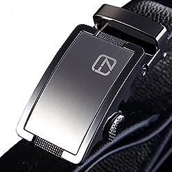Teemzone - Cinturón de Piel para Hombre (110 cm cintura 88-98cm)