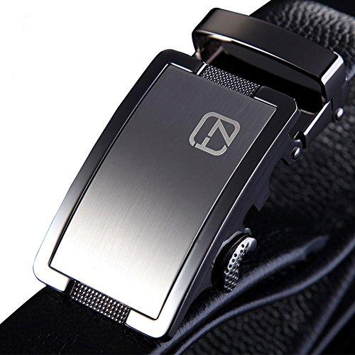 teemzone Cinturón de Piel para Hombre Negro de Hebilla Deslizante Automático (110cm Cintura 88-98cm)