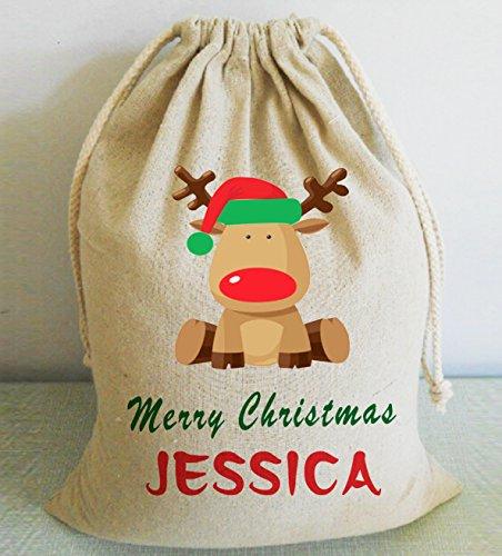 Cute Kids personalizado Navidad Papá Noel sacos arpillera