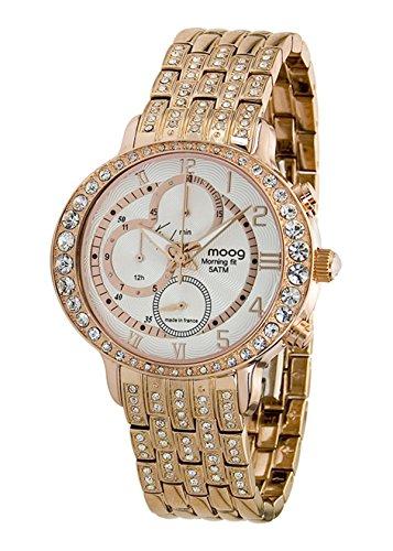 Moog paris morning fit orologio da donna con quadrante bianco, swarovski elements e cinturino oro rosa in acciaio inossidabile - m44854-003