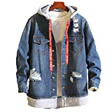 UOMOGO Giacca in Jeans Uomo Inverno Parka Retro Caldo Capispalla Outwear Casual Manica Lunga Jacket Hooded Jacket Top Coat