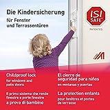 ISI SAFE NEU - die einfache Kindersicherung - TRANSPARENT für Fenster, Balkon- und Terrassentüren, werkzeuglose Montage, keine Beschädigung am Fenster durch Bohren oder Kleben ...