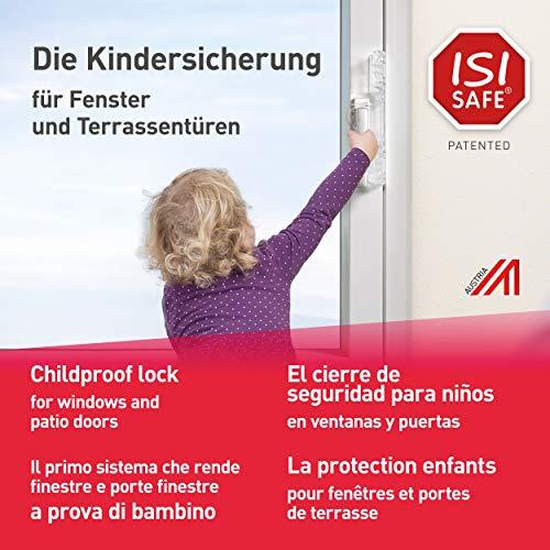 ISI SAFE, el cierre de seguridad para niños No. 1 - TRANSPARENTE para ventanas y puertas de patios y balcones, instalación sin necesidad de herramientas, de taladrar ni de pegar y sin dañar la ventana