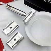 ABOVE THE TIE Windsor inoxidable pulido Maquinilla de afeitar de seguridad 5 Piece Juego - Cuchillas
