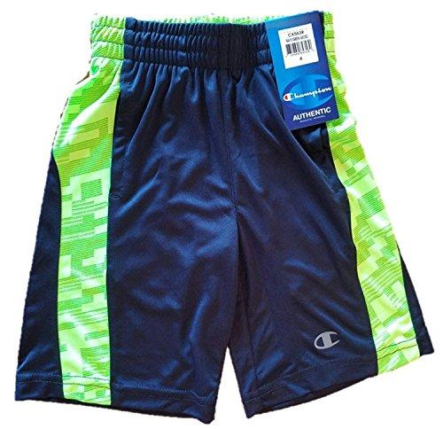 Meister der Jungen athletischen Mesh Shorts (4, Marine/Grün Gecko) (Champion Shorts Mesh Grün)