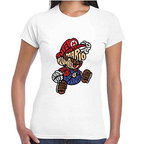 T-Shirt Donna Maglia Maniche Corte Divertente Videogames Con Stampa Mario Bros, Colore: Bianco, Taglia: XL