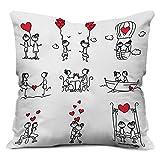 indibni Love Printed Cushion 12X12,White